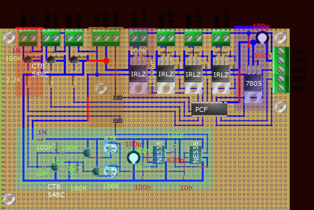 Ausgabeboad Portexpander PCF8574