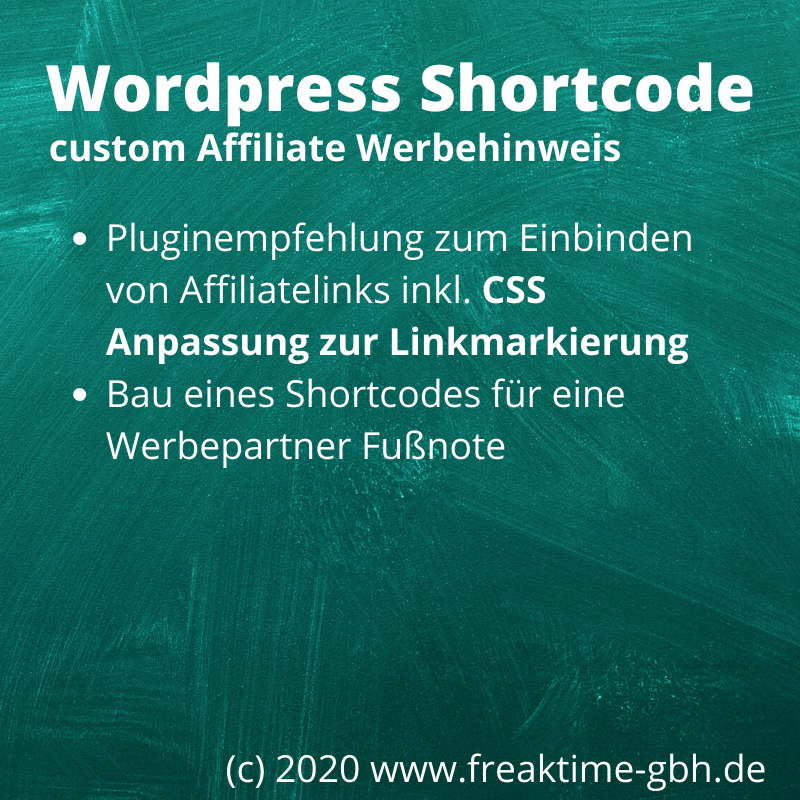 Wordpress Schortcode Affiliate Werbehinweis